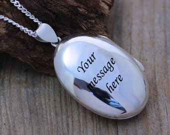 Sterling silver Oval Locket necklace. Engraved Necklace. Personalized Locket. Custom massage. Size 35 x 24mm. Choose chain.  -R-12