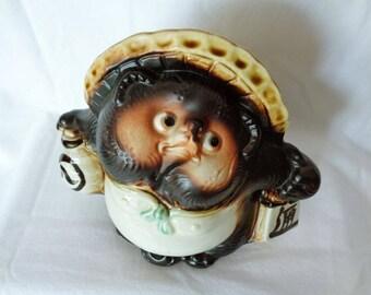 1319:Tanuki Statue,Fine Japanese Shigaraki-yaki Stoneware Artistic pottery Tanuki Sculpture,Tanuki Good Luck Figure,made in Japan