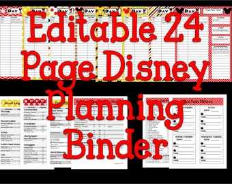 Instant Download Editable Disney Planning Binder, Binder Cover, Agenda, Itinerary, Mickey Mouse