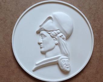 White Athena medallion - Greek wall sculpture - 3d relief