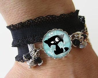 Bracelet Cotton spandex with a 18 mm cabochon with * cat * (020218)