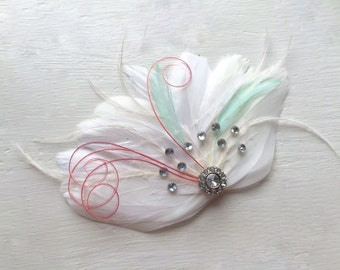 IVY White, Mint and Coral Feather and Crystal Veil Hair Clip, Feather Fascinator, Bridal Hair Piece