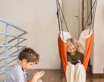 Childrens Activity Baby Hammock Swing  - Indoor - Outdoor Childrens swing, Zaza Nature Baby Hammock - Unbleached cotton and Sienna. Therapy