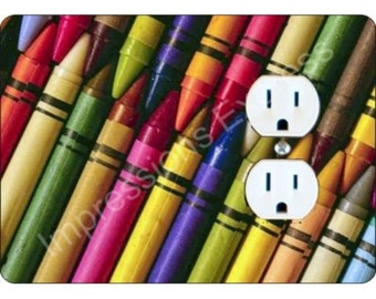 Coloring Crayons Duplex Outlet Plate Cover