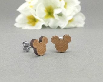 Disney Mickey Mouse Post Earrings - Laser Engraved Wood Earrings - Hypoallergenic Titanium Post Earring Pair