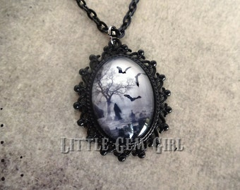 Small Gothic Cemetery Cameo Necklace - Customize 2 Styles 2 Colors Victorian Pendant - Grim Reaper Jewelry - Graveyard Bats Halloween Macbre