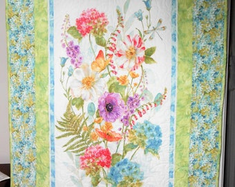 A Rainbow of Seeds - Hydrangea print in soft spring and summer colors  - a quilt for a gardener's delight