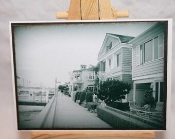 ACEO, ATC, Artist Trading Card, Balboa Island, black and white photography