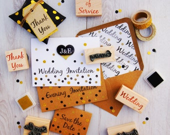 Wedding Invitation Rubber Stamps Various Fonts - DIY Bride Handmade Wedding Invitation Stamp - Save The Date - Order of Service Stationery
