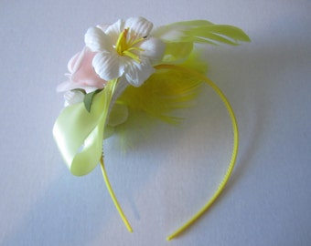Soft Pink & Yellow Party Headband, Party fascinator, feathers and flowers, Cosplay fascinator, headband, Ash Tree Meadow Designs
