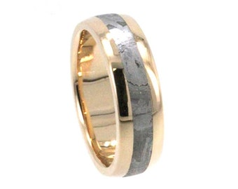 Handmade Gibeon Meteorite Wedding Band, 14k Yellow Gold Ring For Men or Women, Asteroid Jewelry