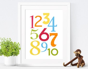 Printable Nursery Art, Nursery Decor, Kids Wall Art, Children's Art, Numbers Print, Gender Neutral, Instant Download