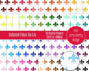 75% OFF Sale - 56 Digital Papers - Colored Fleur De Lis - Instant Download - JPG 12x12 (DP269)