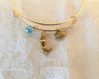 Mermaid And Fish Crystal Silver Tone Adjustable Wire Bangle Bracelet