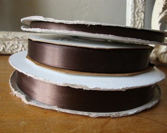 Chocolate brown satin ribbon gift wrap embellishments fabric trim sewing craft supplies kids crafts jewelry sewing hat making paper crafting