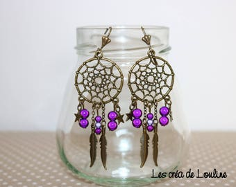 Dream catcher earrings bronze purple