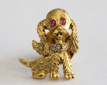 Vintage Gold Dog Scatter Pin With Rhinestones . Unsigned