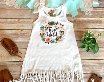 Two Wild Birthday Dress, Second Birthday Outfit Girl, 2nd Birthday Outfit Girl, Second Birthday Girl Dress Boho Fringe Dress Cactus Birthday