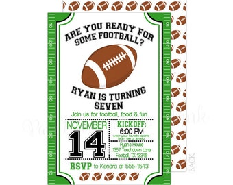 Football Field 5x7 Customized Printable Invitation   Super Bowl or Birthday