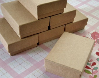 10 Kraft Cotton Filled Jewelry Boxes High Quality 2 1/2 x 1 3/4 x 15/16 inches - Small