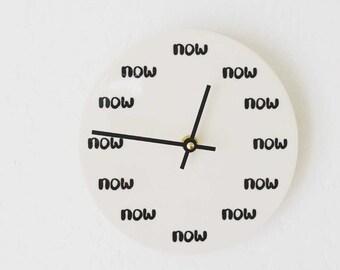 "porcelain clock 7.25"" screenprinted now."