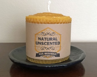 100% Pure & Natural Beeswax Pillar Candle | 3x3 Honeycomb