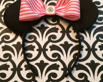 Minnie Mouse Pink Striped High End Fashion Inspired Headband Ears