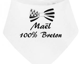 100% personalized with name Breton baby bandana bib