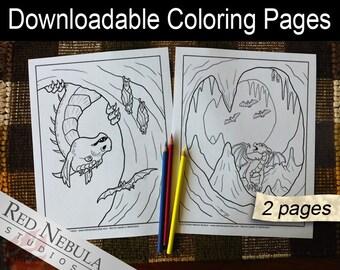 Coloring Pages 12-13 - Shella the Dragon, Young Adult Coloring Page, Fantasy Coloring Book Pages, Bat Cave, Bats, Exploring