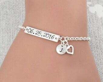 Wedding Gift For Bride, Sterling Silver Date Stamped Bracelet, Anniversary Bracelet, Engraved Date Bracelet, Custom Date Bracelet