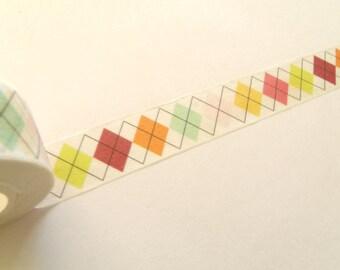 10 m Masking Tape Washi Tape tape multicolored diamonds