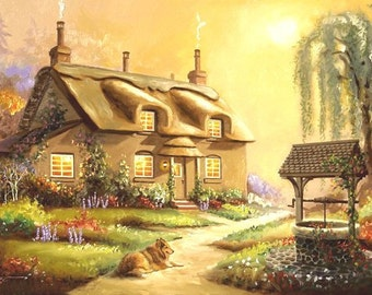 Cottage, wishing well, Landscape, large 24x36 oils on canvas by RUSTY RUST / D-149