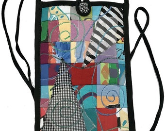 Women's Handmade Recycled Cross Body Cell Phone Cotton Collage Bag - LRW Designs