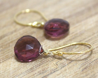 Delicate Plum Kunzite Briolette Drop Earrings in 24K Yellow Gold Vermeil , Bridal , Wedding , Ready to Ship , Wire Wrapped , From Canada