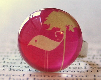 Acrylic Bubble Ring, IVORY ARTSY BIRD and Flower On Bright Pink, No. 717 by Smash Gardens on Etsy