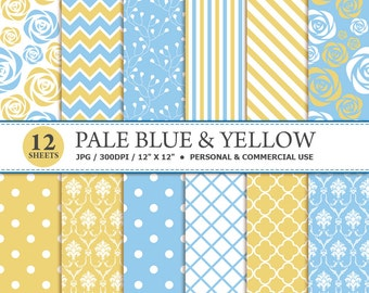 12 Pale Blue & Yellow Digital Scrapbook Paper, digital paper patterns for card making, invitations, scrapbooking