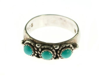 Sterling Turquoise 3 Stone Band