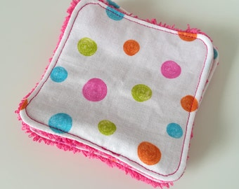 Washable cotton with dots and Terry cloth.