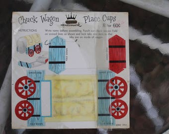 Vintage 1960s  Chuck Wagon Children's Place Cups Name Card Lot of 8 NIP