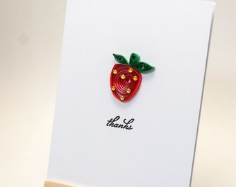 Thank you card, strawberry card, handmade card, quilling card, quilling card, custom card, blank card, quilled card, quilling paper art