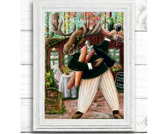 Rustic Kitchen Decor, Moose Kitchen Print, Wine Art, Funny Moose Holding Tray Of Cheese, Bread & Wine, Supper Club, 3 sizes - 8x10 to 16x20