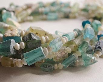 "Ancient Roman Glass Beads- (1) 16"" Bead Strand- Rectangle Beads- Afghanistan Beads- Bactrian Kingdom Glass (1058-RB)"