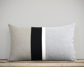 Gray Chambray Striped Lumbar Pillow Cover (12x20) Modern Home Decor by JillianReneDecor (Custom Colors Available) Black and White Linen