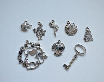 Wonderland Theme Antique Silver Alloy Pendants ~ Set of 8
