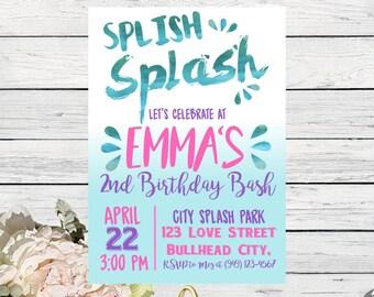Splash Party: Personalized birthday party invitation Watercolor design- ***Digital File*** (Splish-17pnk)