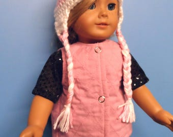 """Fits 18"""" dolls -  Quilted Vest with Earflap Beanie Hat"""