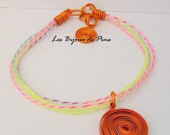 Necklace modern orange snail
