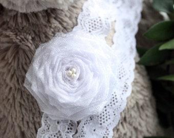 3 to 6m Baby White Flower Headband, Lace Wedding Baby Headband, Pearl Headband, Girl Photo Prop, Flower Girl Headband Christmas Baby Gift