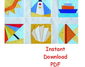 Beach Paper pieced PDF Patterns quilt blocks ship shell lighthouse umbrella  INSTANT DOWNLOAD