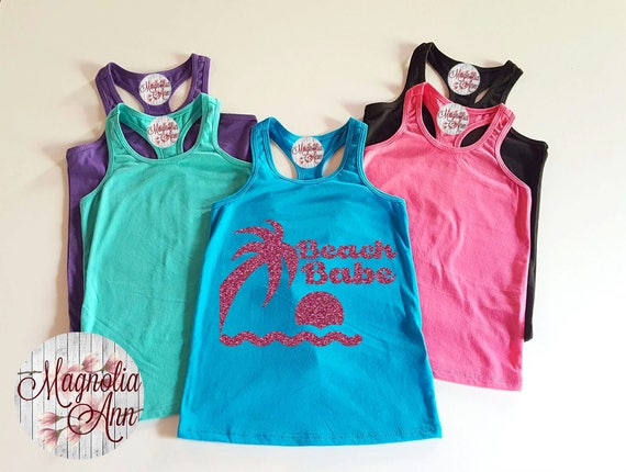 Beach Babe, Baby, Toddler, Little Girls Racerback Tank Top in 6 Colors in Sizes 6 Months - Little Girls Size 6X